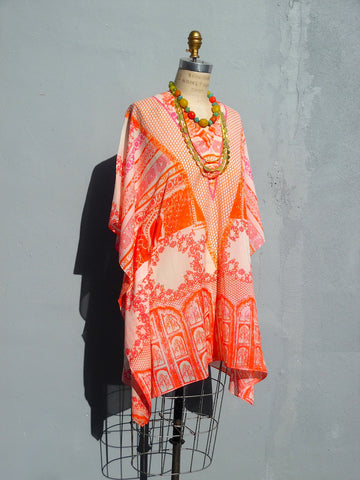 Caftan Silk Cotton Chinoiserie Orange And Pink