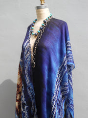 Cape Shawl Silk And Cashmere Navy And Brown Batik