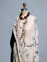 SHAWL SILK AND CASHMERE BLACK AND WHITE CHERRYBLOSSOM
