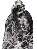 Shawl Silk And Cashmere Black And White Coral