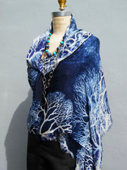 Shawl Silk And Cashmere Navy And White Coral