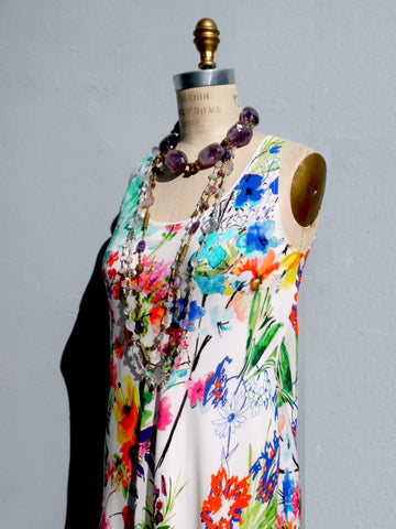Floral Silk Long Dress