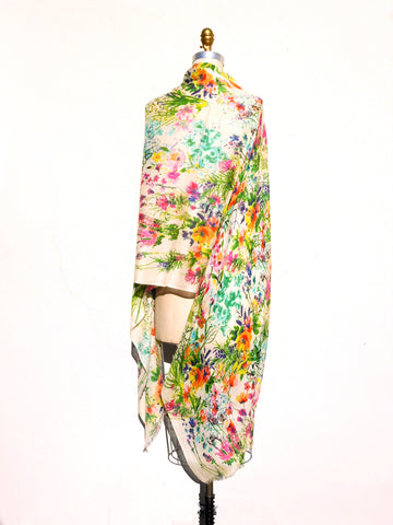 Shawl Silk And Cashmere Bright Floral