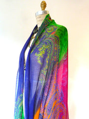 SHAWL SILK AND CASHMERE BRIGHT PAISLEY