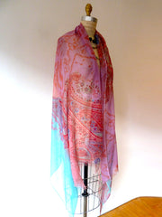 SHAWL SILK AND CASHMERE PAISLEY PINK AND TURQUOISE