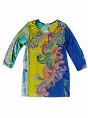 Silk Cotton Long Tunic T With Pockets Paisley