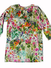 Silk Cotton Long Tunic T With Pockets Floral