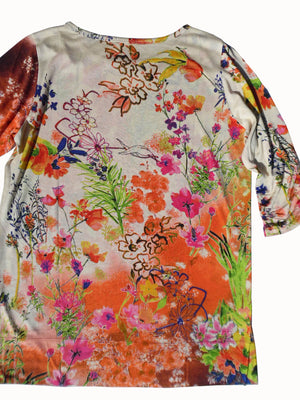 Silk Cotton Long 3/4 Sleeve Tee Orange Floral