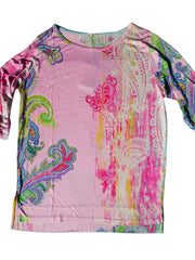 Silk Cotton Long 3/4 Sleeve Tee Pink Paisley