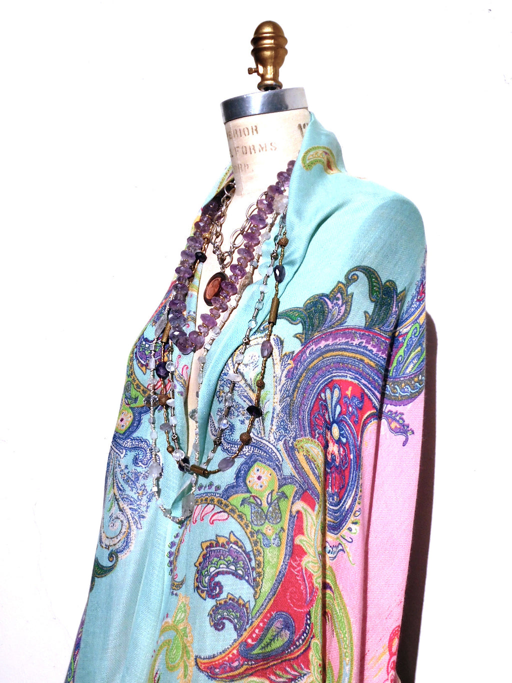 Shawl Silk And Cashmere Pink Turquoise Paisley