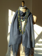 Alpaca and Silk Gauzy Shawl Indigo