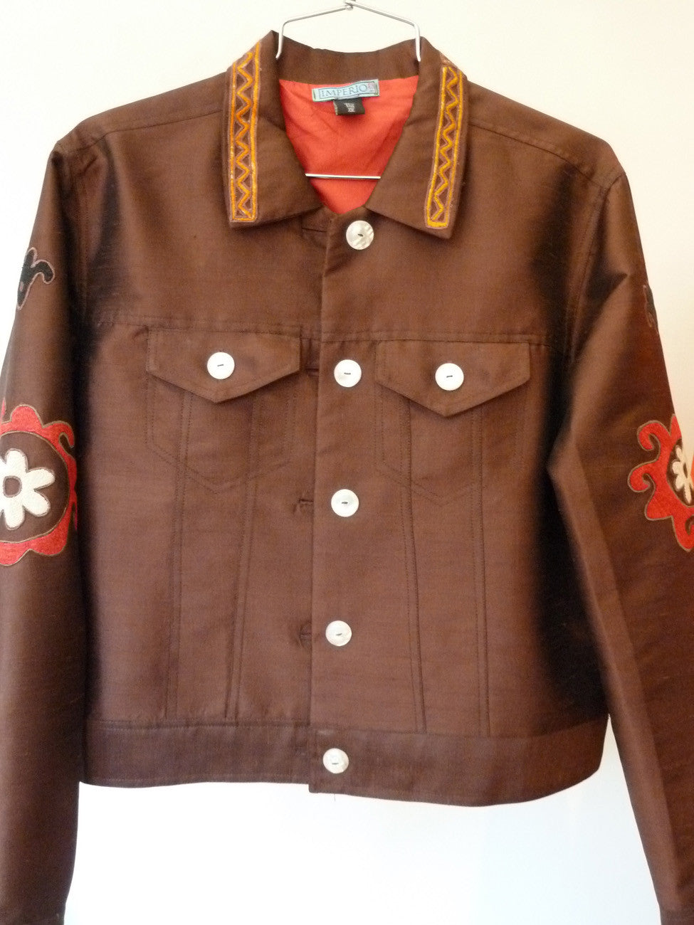 Jean Jacket Vintage Suzani Embroidery Chocolate Coral