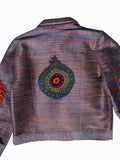Jean Jacket Vintage Suzani Embroidery Blue Cord Multi with Coral