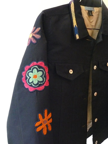 Jean Jacket Vintage Suzani Embroidery Navy Oatmeal