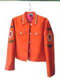 Jean Jacket Vintage Suzani Embroidery Orange Fuchsia