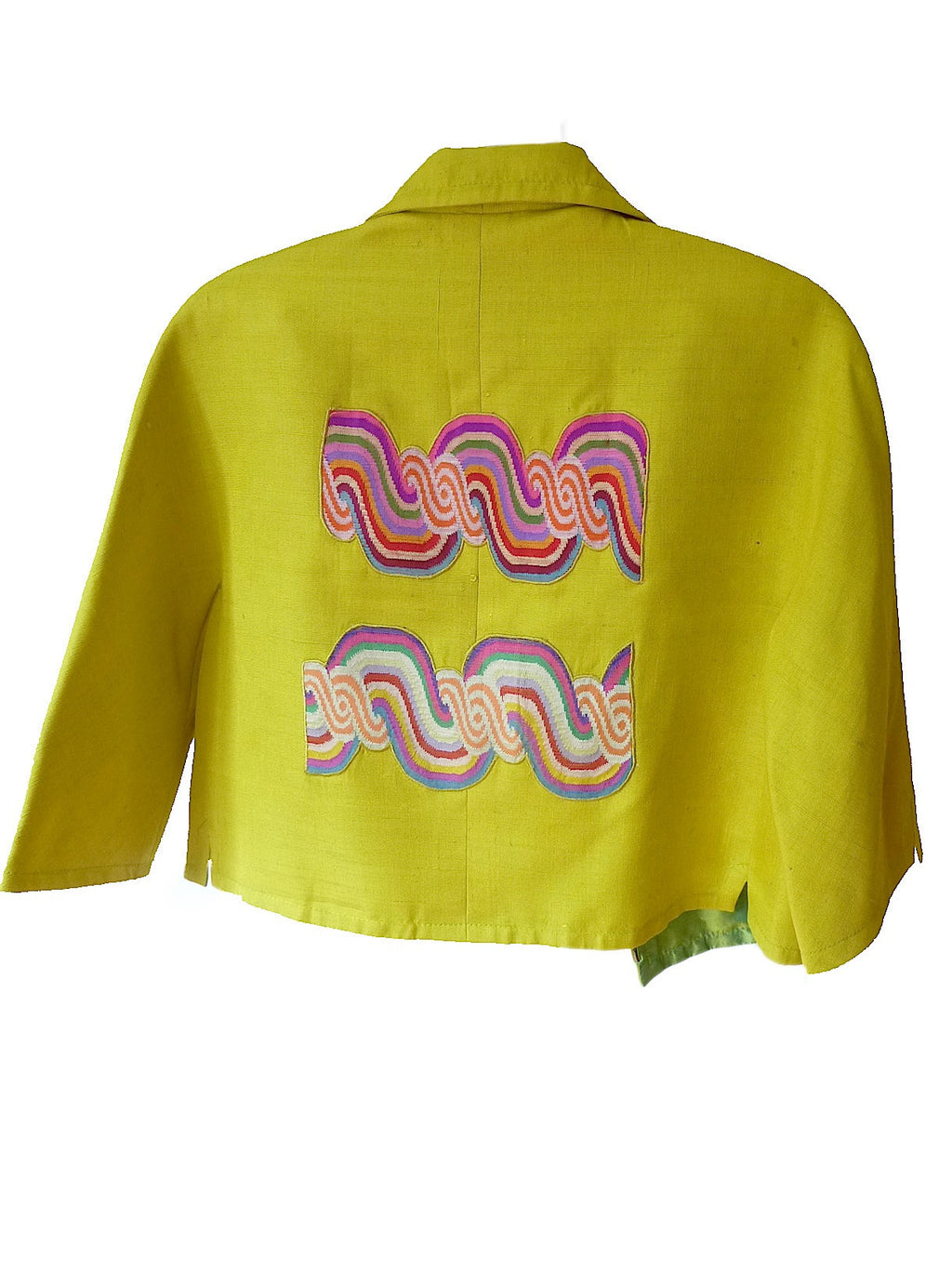 Couture Cut Peace Jacket Citron And Rainbow Swirl