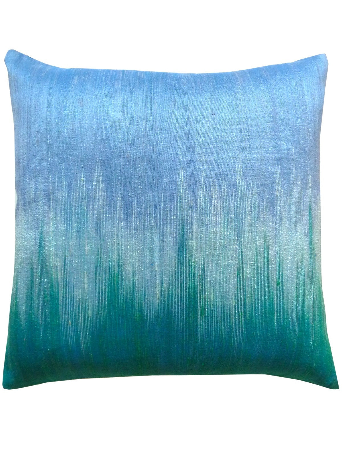 Cambodian Silk Ikat Pillow Blue Green Wave