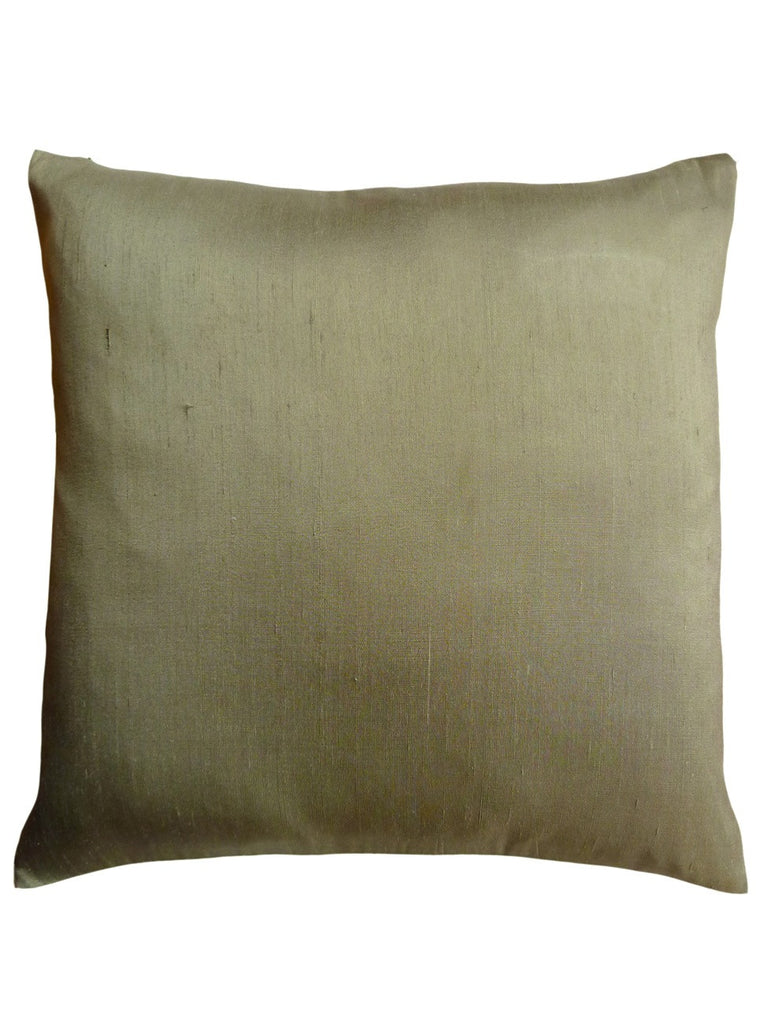 Thai Silk Solid Pillow Light Khaki