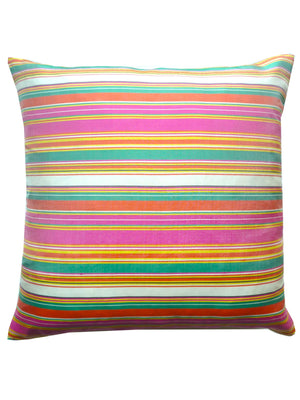 THAI SILK CABANA STRIPE PILLOW WHITE