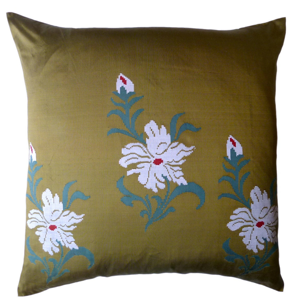 "Burmese Silk 30"" Euro Or Floor Pillows Olive Ivory"