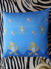 Burmese Silk 30 inch King Size Square Pillows Royal Blue