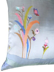 "Burmese Silk 30"" Euro Or Floor Pillows Soft Blue Floral"