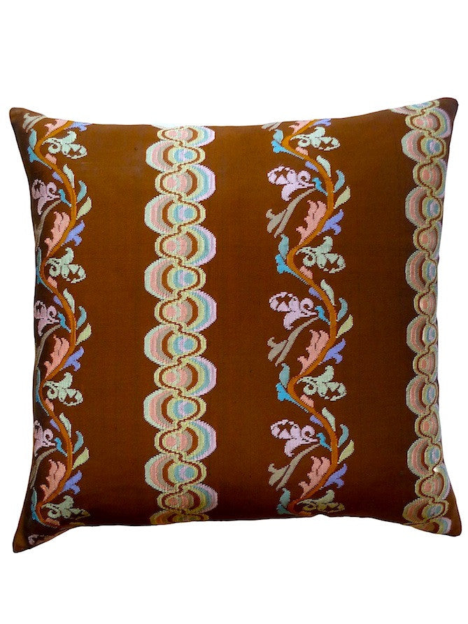 Burmese Silk Pillow Chocolate Peach