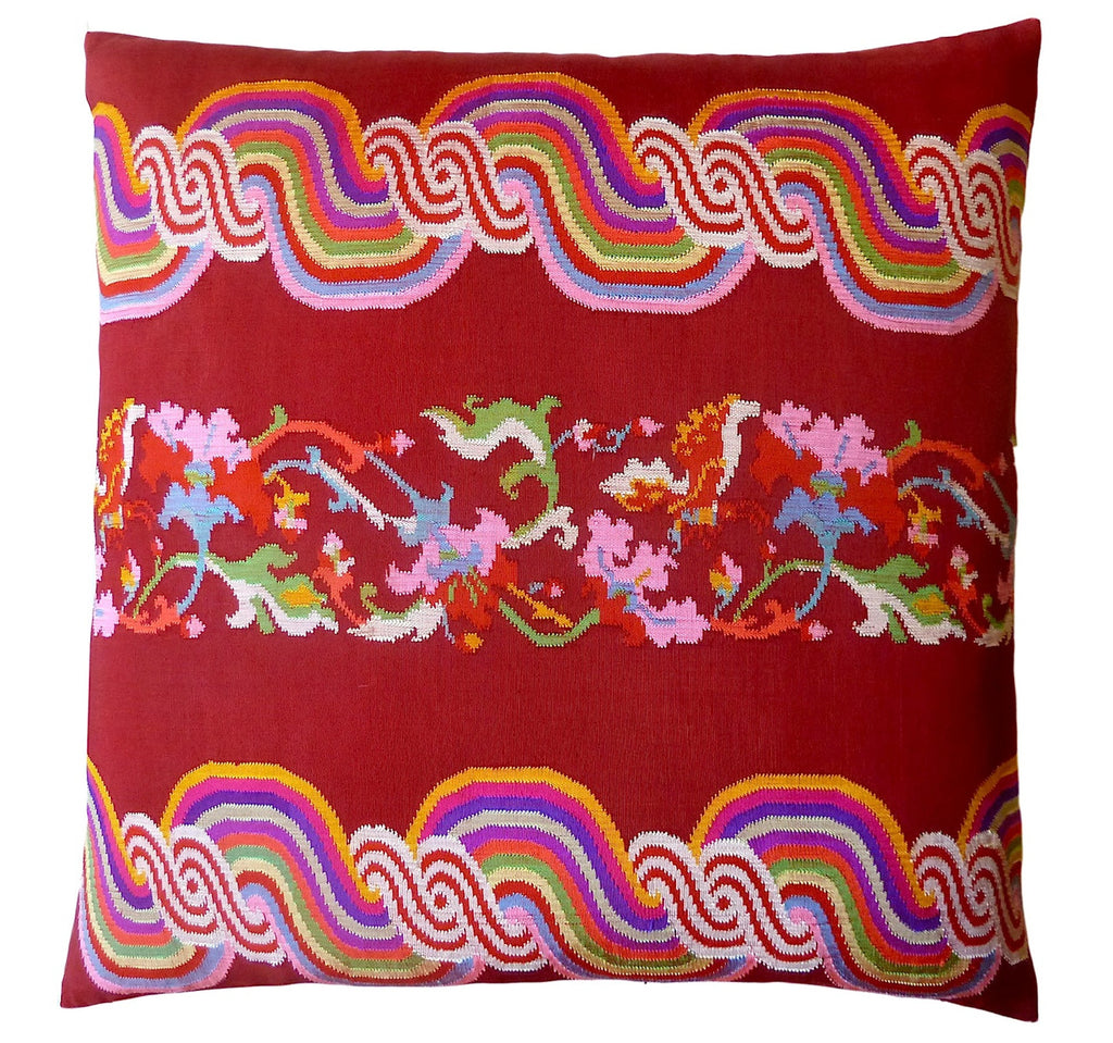 Burmese Silk Pillow Burgundy Rainbow