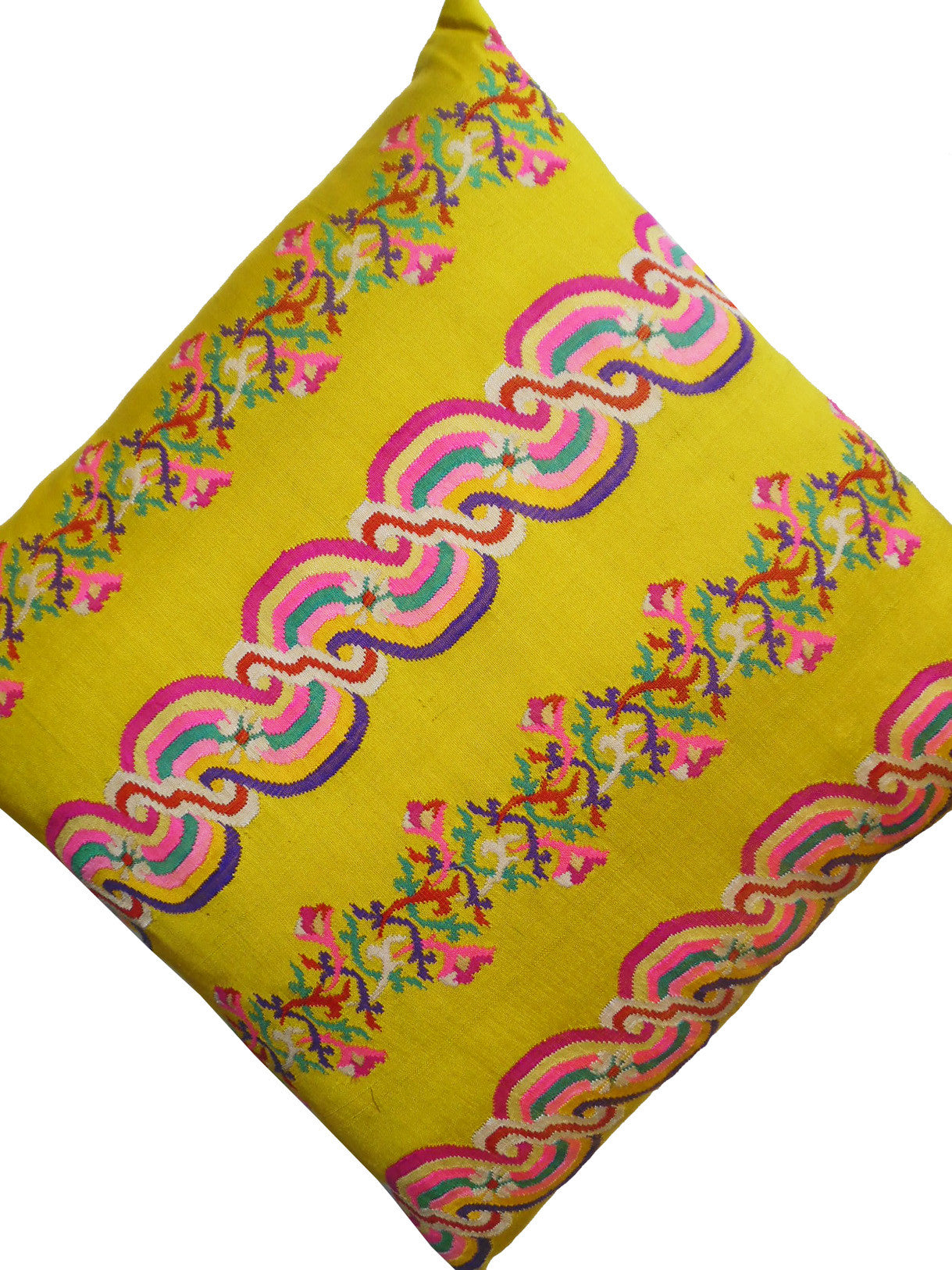 Burmese Silk Pillow Bright Yellow