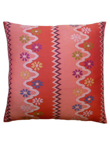 Burmese Silk Pillow Coral Floral