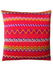 Pillow Hand Woven Burmese 10 Ply Red Groovy