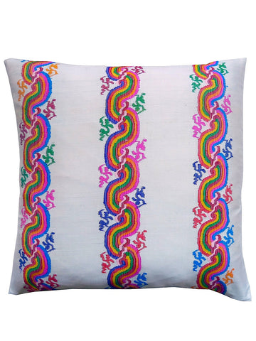 Burmese Silk Pillow Ivory Rainbow Swirl