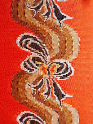 Burmese Silk Pillow Orange Brown Ribbon