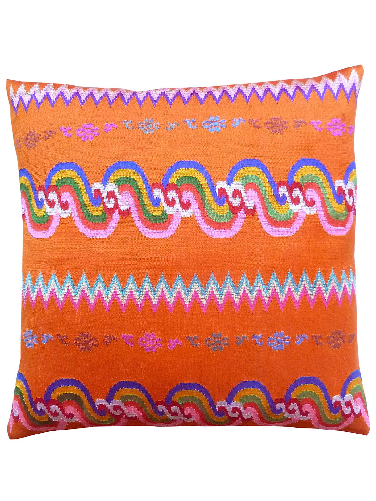 Burmese Silk Pillow Orange Chevron