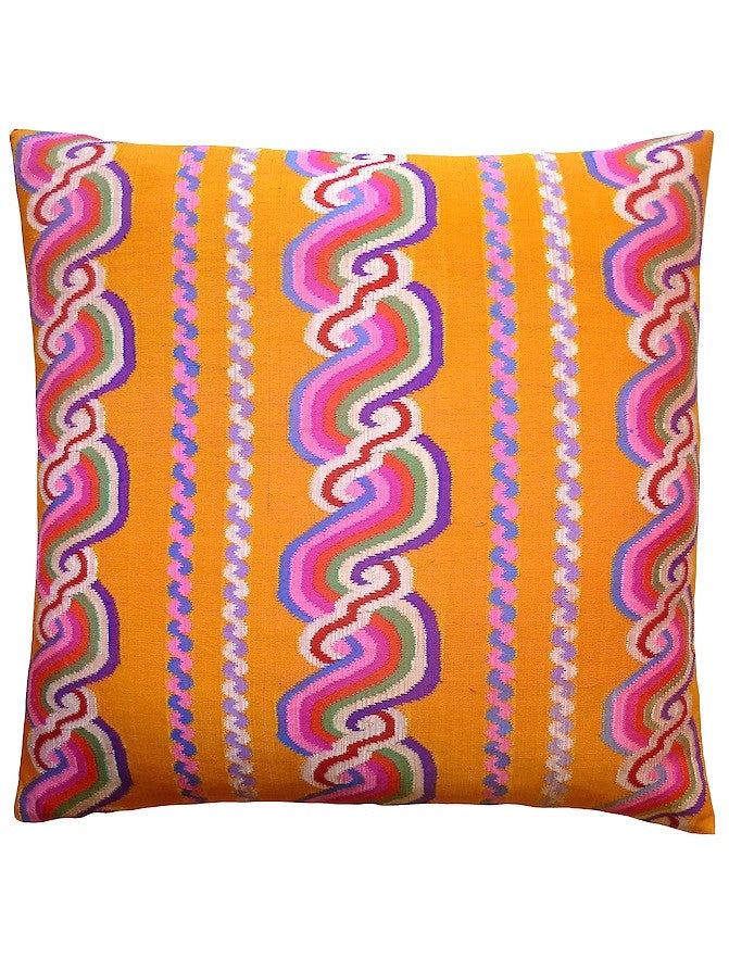 Burmese Silk Pillow Spanish Yellow