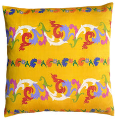 Burmese Silk Pillow Yellow Scroll