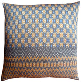 Cambodian Silk Ikat Pillow Grey Beige Blue