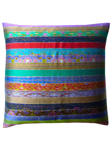 Pillow Silk Ikat Multi Stripe One Of A Kind