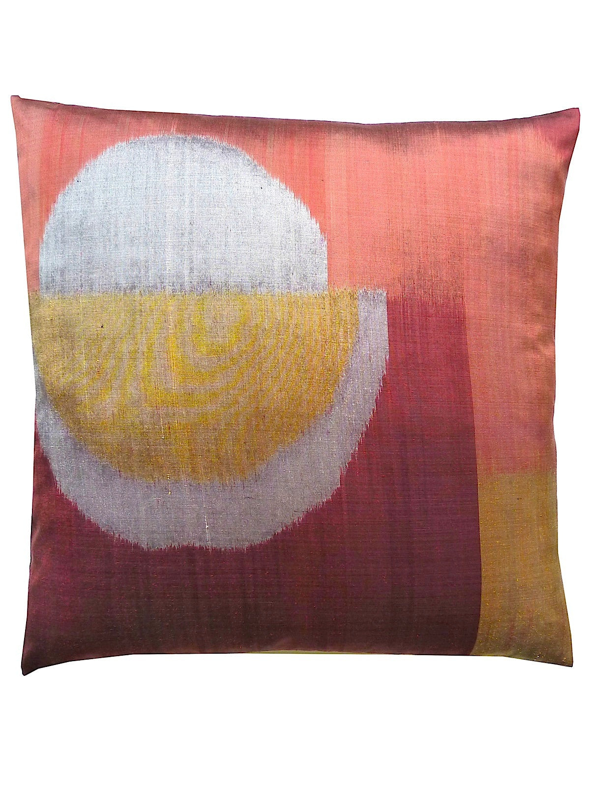 Thai Silk Modern Ikat Pillow Burgundy Oval