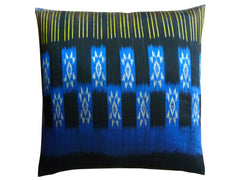Thai Silk Modern Ikat Pillow Black Cobalt Gold