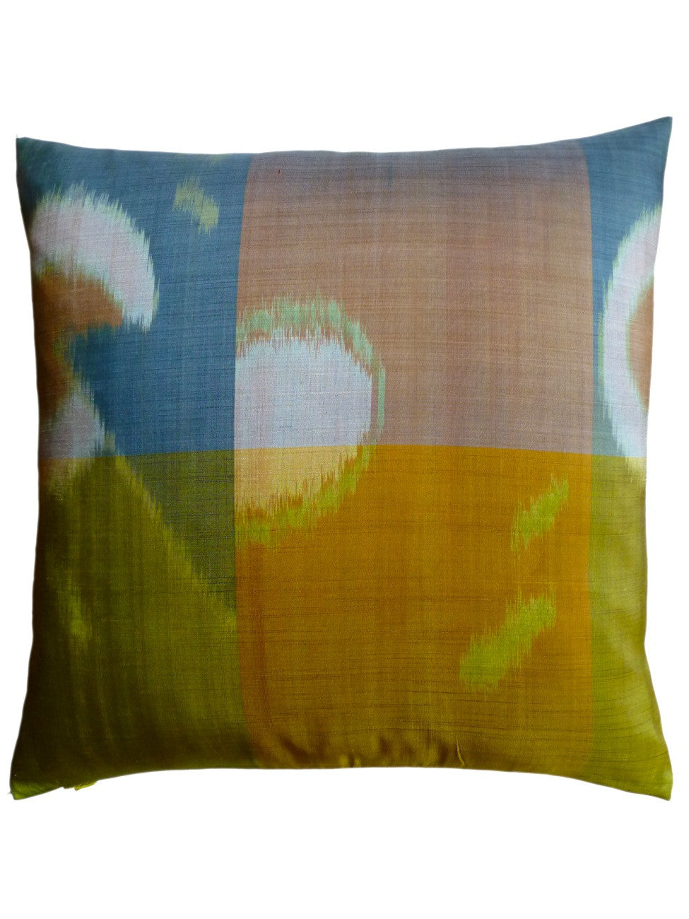 Thai Silk Modern Ikat Pillow Butterscotch Blue