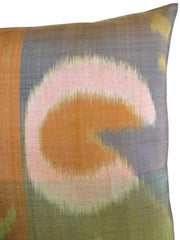 Thai Silk Modern Ikat Pillow Butterscotch Green