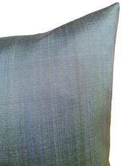 Thai Silk Modern Ikat Pillow Celadon Butter Amethyst Bar