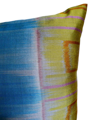 Thai Silk Modern Ikat Pillow Celadon Pastels Gold