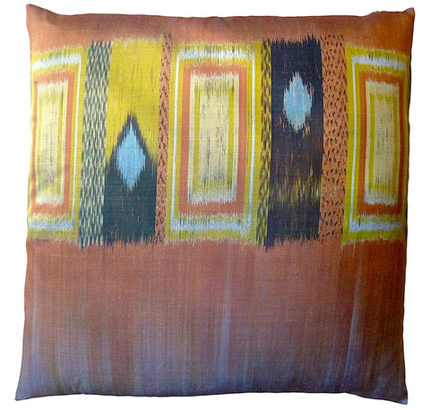 Thai Silk Modern Ikat Pillow Black Copper Slate Blue Mustard