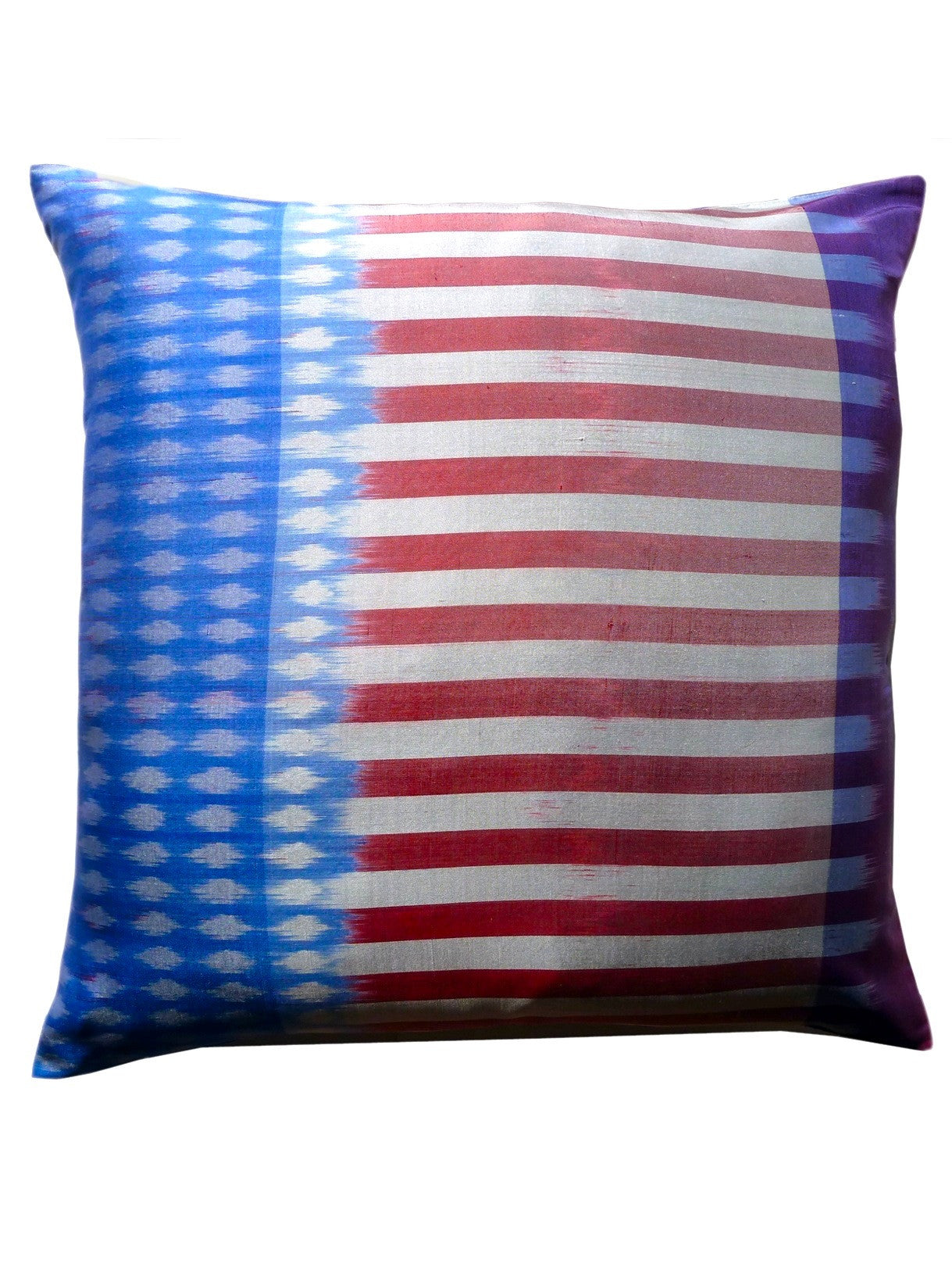 Thai Silk Modern Ikat Pillow American Flag