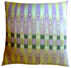 Thai Silk Modern Ikat Pillow Lavender Peridot Bars