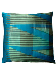 Thai Silk Modern Ikat Pillow Peacock Celadon