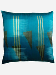 Thai Silk Modern Ikat Pillow Peacock Olive