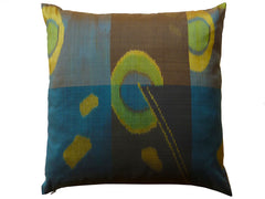 Thai Silk Modern Ikat Pillow Peacock Brown